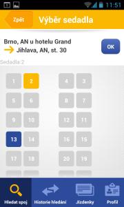 Aplikace Jízdynky od RegioJet - volba sedadla